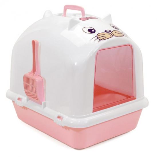 에이스펫 깜찍이 후드화장실 화이트&핑크 사진