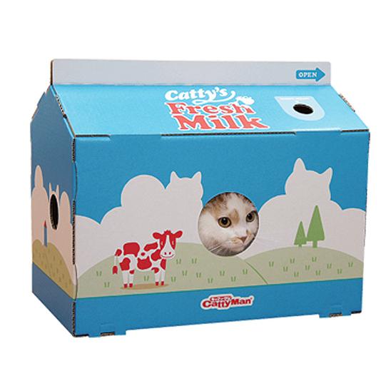 캐티맨 고양이 스크래쳐 하우스 밀크 사진