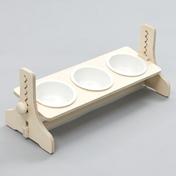 힐링타임 반려동물 높이조절 원목식탁 도자기 화이트 3구