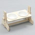 힐링타임 반려동물 높이조절 원목식탁 도자기 화이트 2구 사진