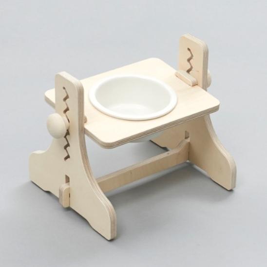 힐링타임 반려동물 높이조절 원목식탁 도자기 화이트 1구 사진