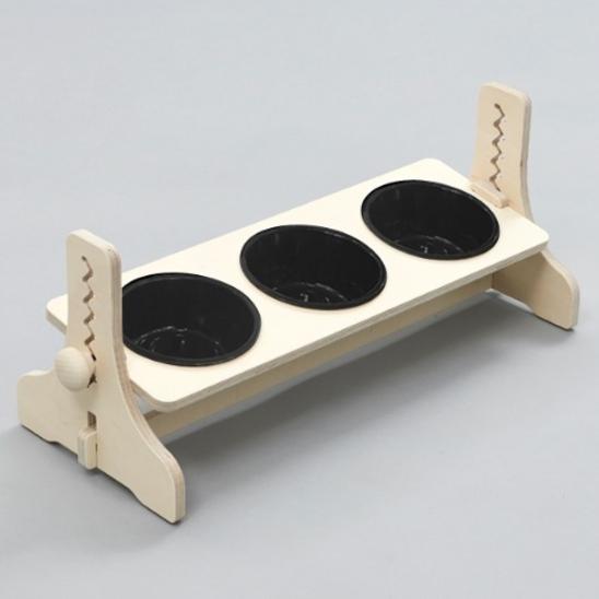 힐링타임 반려동물 높이조절 원목식탁 도자기 블랙 3구 사진