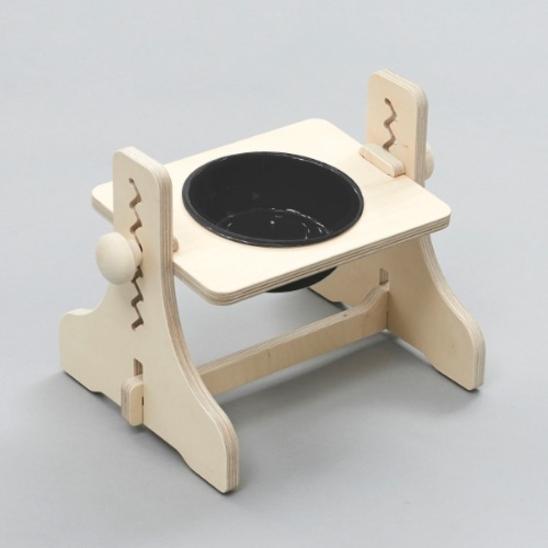 힐링타임 반려동물 높이조절 원목식탁 도자기 블랙 1구 사진