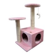 핑크모리 2단사각 캣타워 핑크
