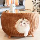 네코세카이 라탄 카페테이블 브라운 사진